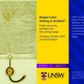 Public Lecture in NSW by Lord Judge on the Magna Carta